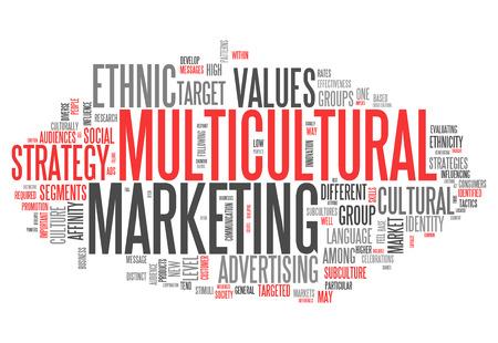 Nube de la palabra con la redacción de Mercadeo Multicultural relacionados Foto de archivo - 31602403
