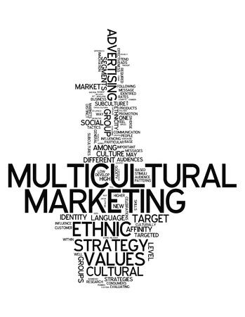 Nube de la palabra con la redacción de Mercadeo Multicultural relacionados Foto de archivo - 31602404