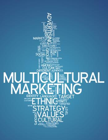 Nube de la palabra con la redacción de Mercadeo Multicultural relacionados Foto de archivo - 31602405