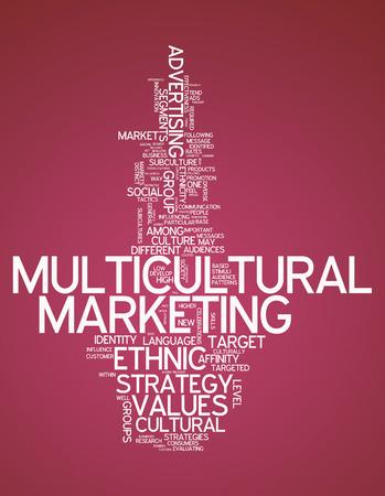 Nube de la palabra con la redacción de Mercadeo Multicultural relacionados Foto de archivo - 31602406