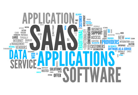 Word Cloud with Software As A Service related tags Banque d'images