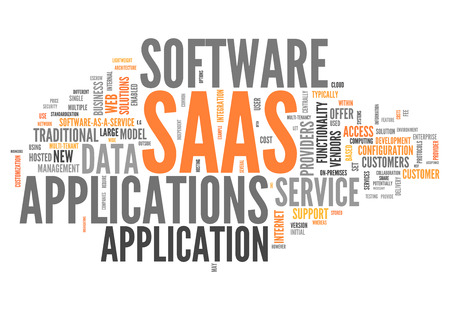 Word Cloud with Software As A Service related tags Stockfoto
