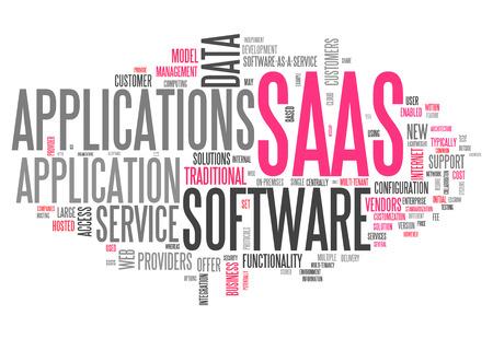par�?s: Nube de la palabra con el software como un servicio relacionado etiquetas Foto de archivo