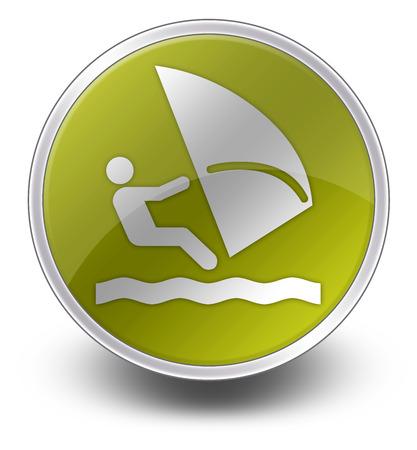 windsurfing: Icono, bot�n, Pictograma con el s�mbolo de Windsurf