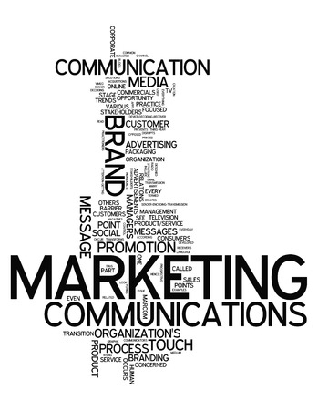 decoding: Word Cloud with Marketing Communications related tags Stock Photo