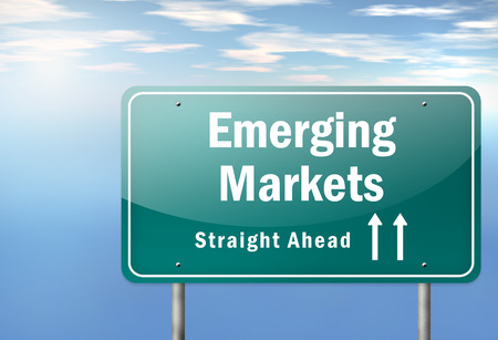 emerging markets: Highway Signpost with Emerging Markets wording Stock Photo