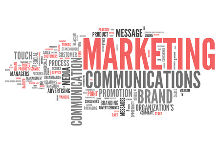 marketing mix: Word Cloud with Marketing Communications related tags Stock Photo