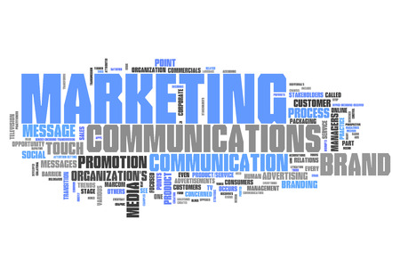 Word Cloud with Marketing Communications related tags Stockfoto