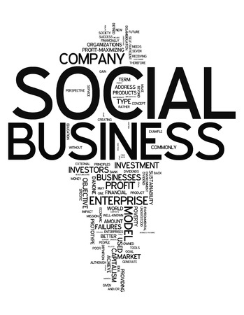 Word Cloud with Social Business related tags photo