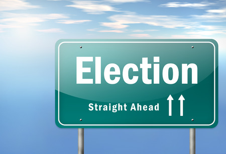 polling booth: Highway Signpost with Election wording Stock Photo