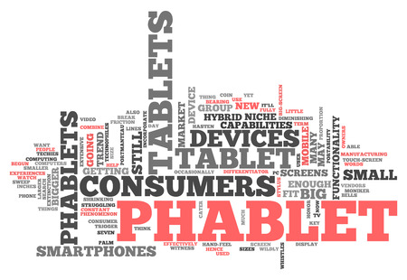 larger: Word Cloud with Phablet related tags Stock Photo