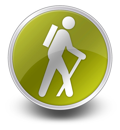 hiking trail: Icon, Button, Pictogram with Hiking symbol Stock Photo