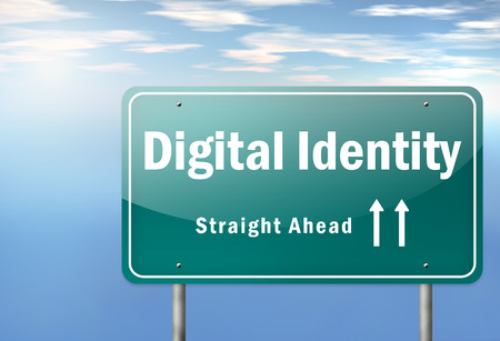 identifiers: Highway Signpost with Digital Identity wording Stock Photo