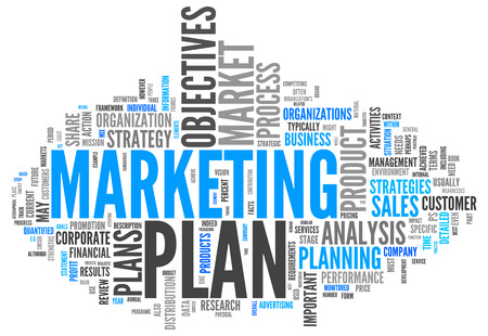 Word Cloud with Marketing Plan related tags photo