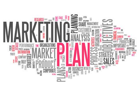 Wort-Wolke mit Marketing-Plan verwandte Tags