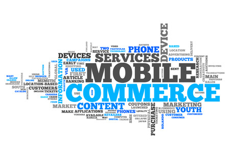 mobile commerce: Word Cloud with Mobile Commerce related tags Stock Photo