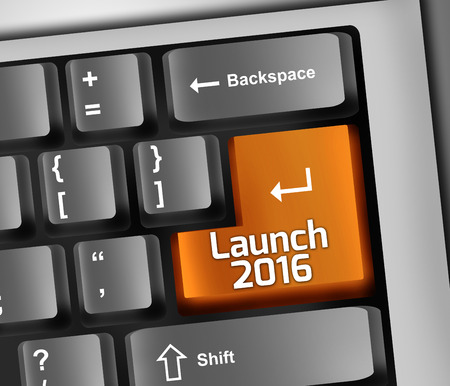 nye: Keyboard Illustration with Launch 2016 wording Stock Photo