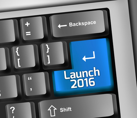 Keyboard Illustration with Launch 2016 wording Stock Photo