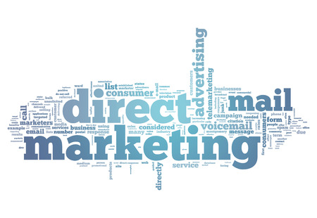 mail: Word Cloud with Direct Marketing related tags Stock Photo