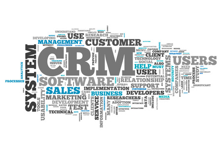 crm: Word Cloud with CRM - Customer Relationship Management related tags Stock Photo