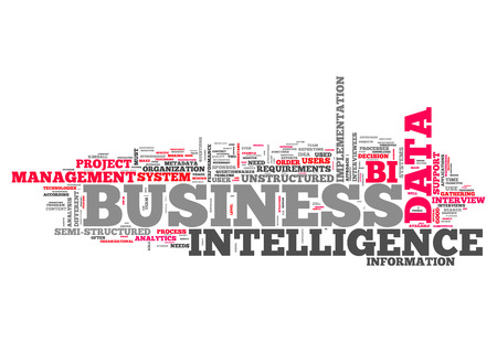Word Cloud with Business Intelligence related tags Stock Photo