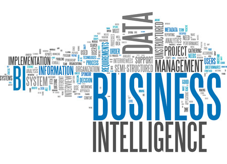 Word Cloud with Business Intelligence related tags Stockfoto