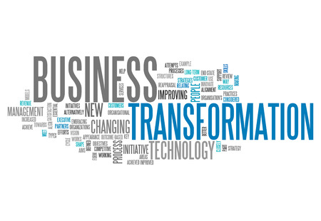 gestion empresarial: Nube de la palabra con las etiquetas de transformación de negocios: Foto de archivo
