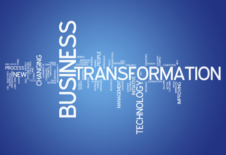 Word Cloud met Business Transformation gerelateerde tags Stockfoto