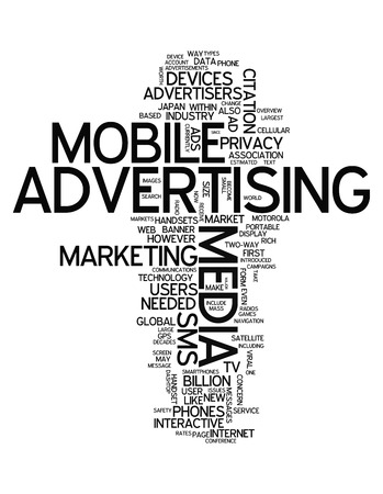 Word Cloud with Mobile Advertising related tags Stock Photo