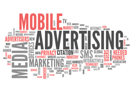 advertisers: Word Cloud with Mobile Advertising related tags Stock Photo