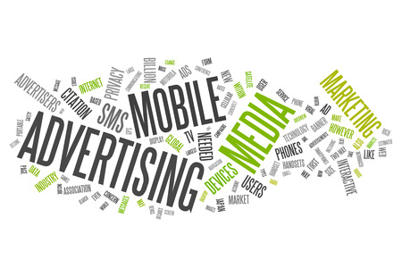 word collage: Word Cloud with Mobile Advertising related tags Stock Photo