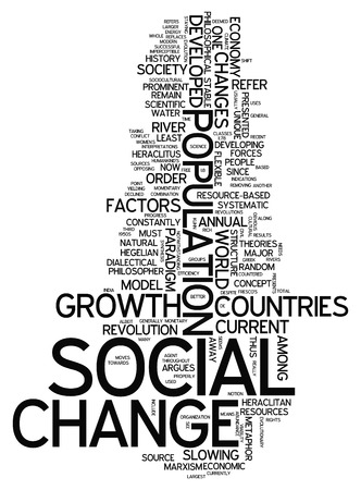 Word Cloud with Social Change related tags Stockfoto