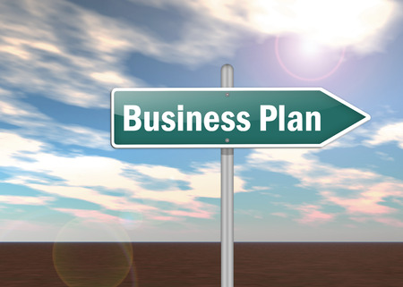 Signpost with Business Plan wording photo