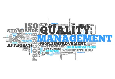 Word Cloud with Quality Management related tags Stockfoto