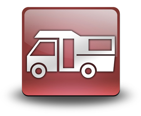 campground: Icon, Button, Pictogram with Motorhome symbol Stock Photo