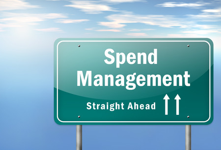 Highway Signpost with Spend Management wording Stock Photo
