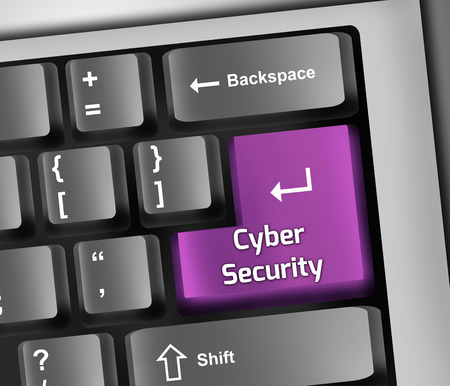 Keyboard Illustration with Cyber Security wording illustration