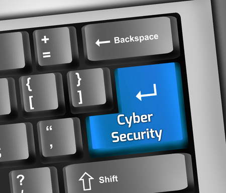 サイバー セキュリティの言葉遣いとキーボードの図