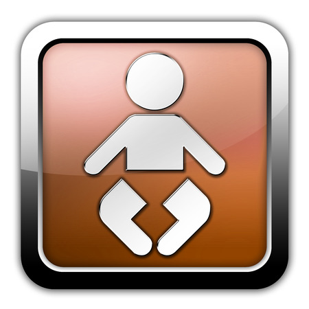 baby changing sign: Icon, Button, Pictogram with Nursery symbol Stock Photo