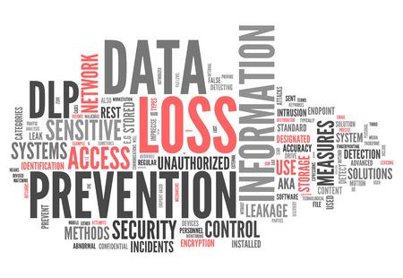 Wort-Wolke mit Data Loss Prevention verwandte Tags Standard-Bild - 33532830