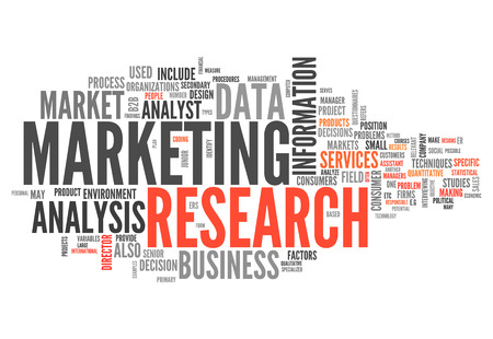marketer: Word Cloud with Marketing Research related tags Stock Photo