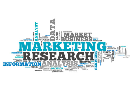 marketers: Word Cloud with Marketing Research related tags Stock Photo