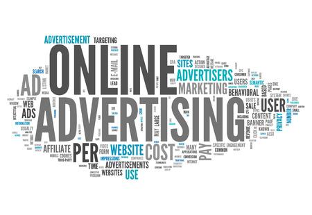 Wort-Wolke mit Online-Werbung verwandte Tags Standard-Bild - 33533104