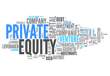 firms: Word Cloud with Private Equity related tags Stock Photo