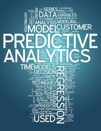 Nube de la palabra con las etiquetas de análisis predictivo relacionados Foto de archivo - 33872645