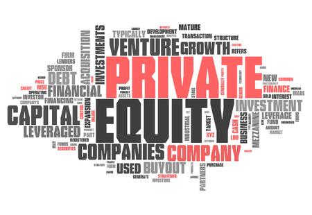 equity: Nube de la palabra con las etiquetas de renta variable relacionada privadas
