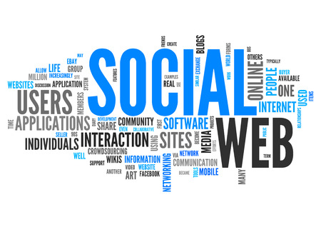 Word Cloud with Social Web related tags Stock Photo