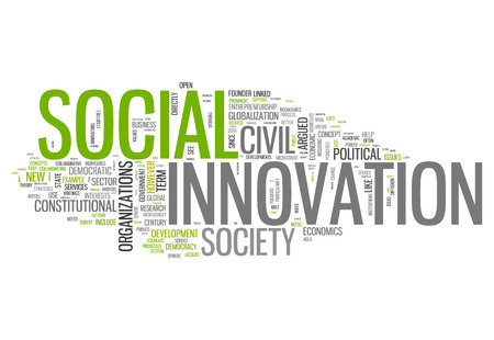 Word Cloud with Social Innovation related tags Foto de archivo