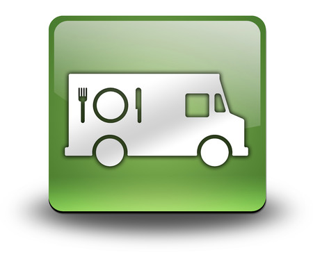 symbol: Icon, Button, Pictogram with Food Truck symbol Stock Photo