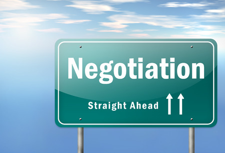 wording: Highway Signpost with Negotiation wording Stock Photo